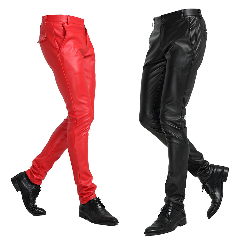 Men Leather Pants  For Spring Summer 2019 New Fashion Solid Slim Plus Size Men PU Leather Pants 28-37 High Quality