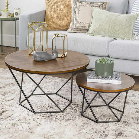 Astonishing Coffee Tables Living Room Furniture Home Furniture Solid Wood Iron Round Sofa Tea Side Table Basse Modern 70 70 45Cm 45 45 40Cm Pabps2019 Chair Design Images Pabps2019Com