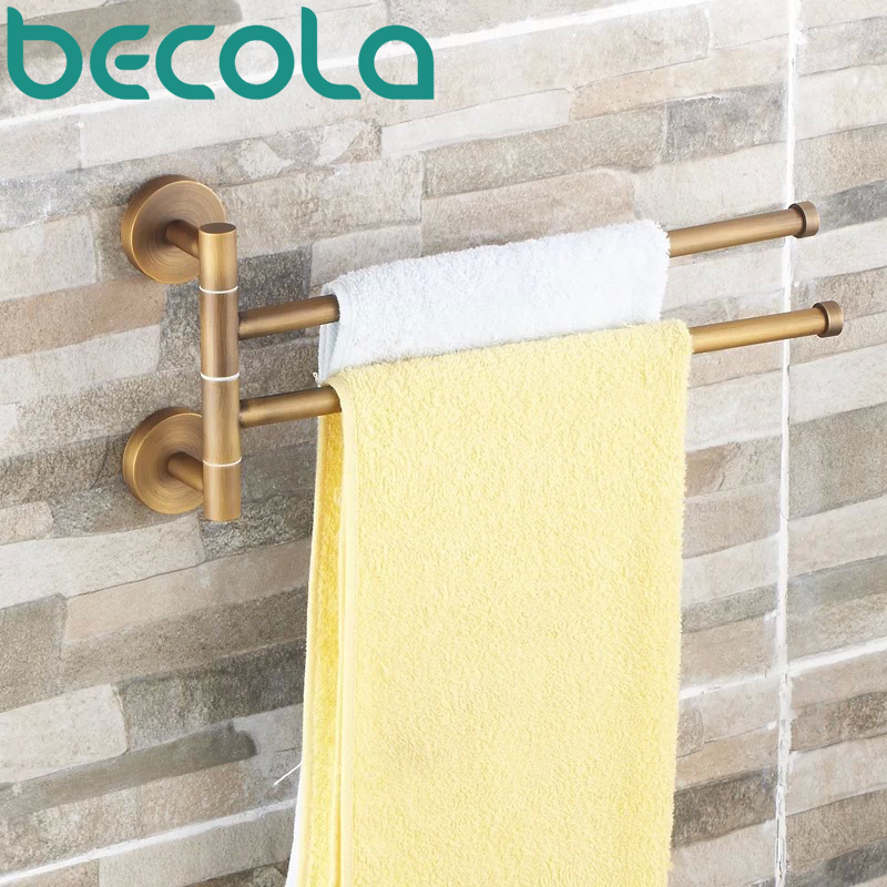 Free shipping antique copper double towel rack bathroom antique rotary towel bar activities towel bar B-88012 european copper gold towel rack toilet towel bar bathroom antique rotary towel bar antique activities towel 3 bar f91381