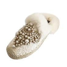 hot deal buy baotou slippers women 2018 interior house plush soft shoes non-slip floor pearl half slippers rabbit hair heelless yasilaiya