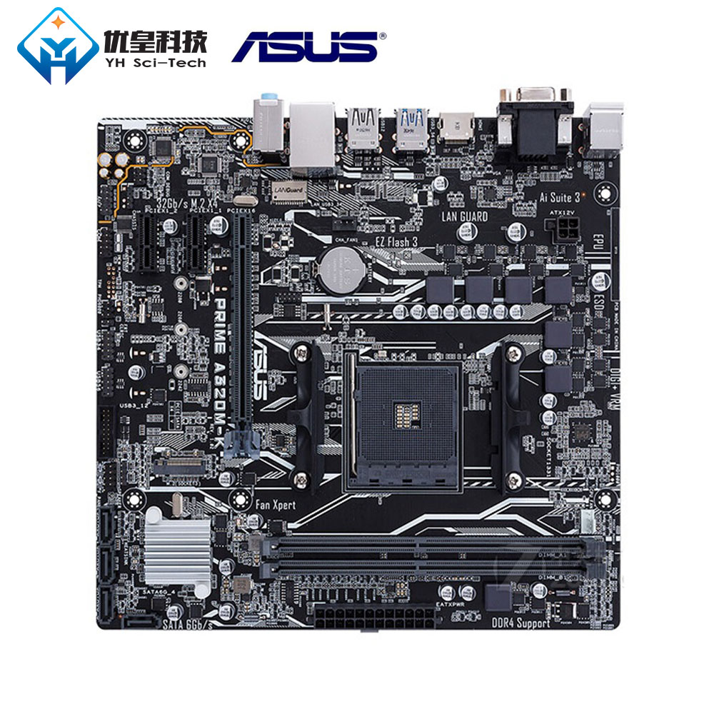 Original Used Desktop Motherboard Asus AMD A320 Asus PRIME A320M K Socket AM4 AMD Ryzen Athlon X4 DDR4 32G Micro ATX in Motherboards from Computer Office