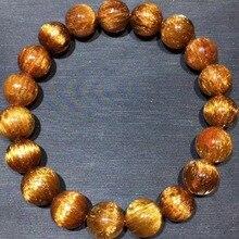 10.5mm Echte Natuurlijke Copper Rutielkwarts Crystal Armband Edelsteen Voor Vrouw Lady Gift Ronde Kralen Armbanden AAAAA