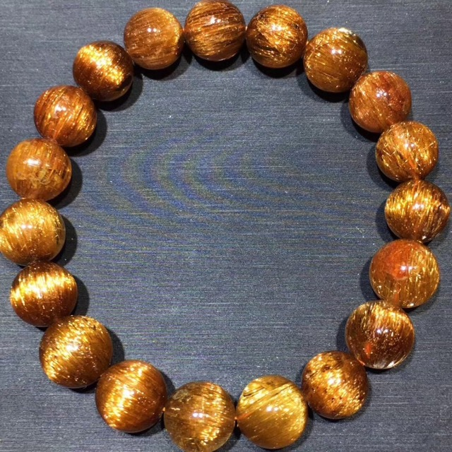 10.5mm Genuine Natural Copper Rutilated Quartz Crystal Bracelet Gemstone For Woman Lady Gift Round Beads Bracelets AAAAA