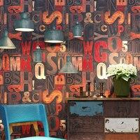 beibehang Vintage wallpaper nostalgic English alphabet barber shop restaurant bar industrial wind clothing store KTV wallpapers