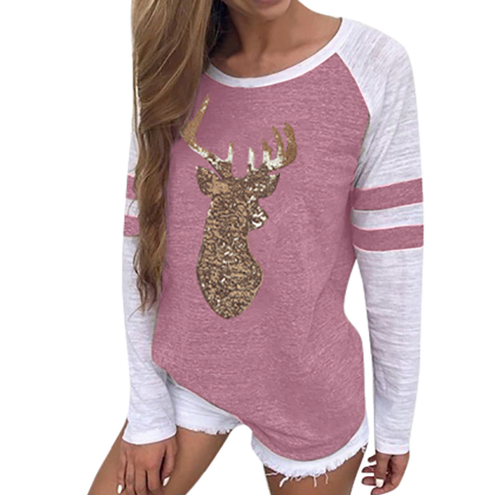 Christmas Tops For Women.Us 5 01 15 Off Plus Size Christmas Tops Women T Shirt Elk Print Xmas Long Sleeve Happy Tops T Shirt Winter Female Roupas Feminina 415 In T Shirts