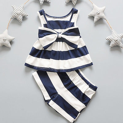 2PCS Newborn1 2 3 4 5 Years Baby Girls Bow tie Tank Tops Vest Striped Sleeveless Dresses + Shorts Pants Clothes Sets Girls New flower sleeveless vest t shirt tops vest shorts pants outfit girl clothes set 2pcs baby children girls kids clothing bow knot