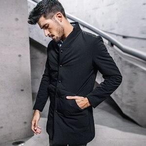 Image 3 - Inverno dos homens parkas com capuz grosso cor preta para 2020 novo homem magro ajuste roupas quentes marca masculino wear casacos mais tamanho 0281