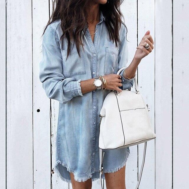 Для женщин Повседневное кисточкой Джинсовая блузка рубашки для мальчиков 2019 Весенняя Дамская мода топы с длинными рукавами блузки