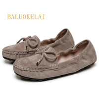 Shoes Women Flock Women Flat Shoes Casual Loafers Slip On Butterfly knot Women's Flats Shoes Moccasins Lady Driving Shoes,K 088