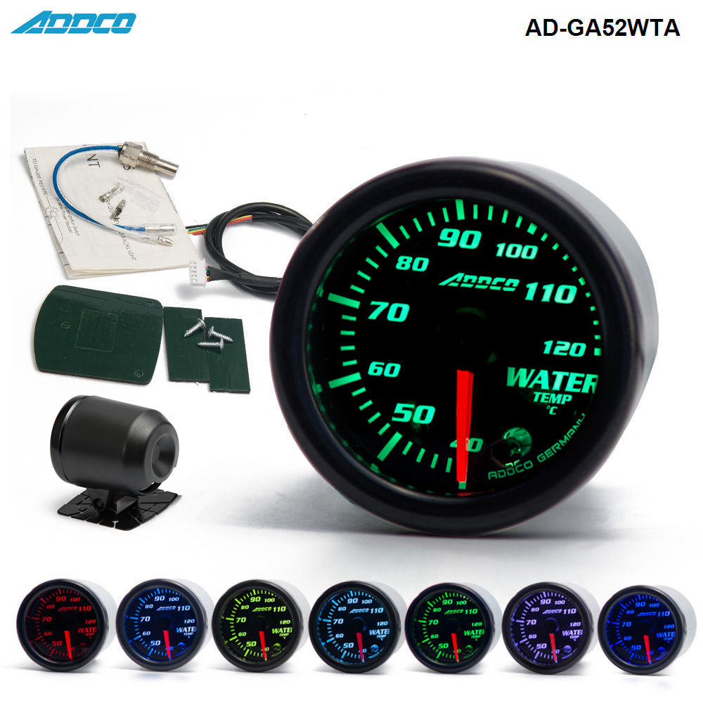 Auto 2 52mm 7 Color LED Smoke Face Water Temp gauge Water Temperature Meter With Sensor Car meter Gauge AD-GA52WTA sepp motorcycle water temperature meter digital thermometer temp gauge with color screen auto sensor for all cars