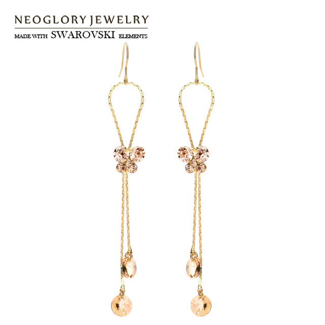 Neoglory Austria Crystal   Rhinestone Long Drop Earrings Light Yellow Gold  Color Elegant Butterfly Exquisite Design Lady Sale f076a0de1b3a