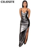 CELEISITE Gold Silver Long Sequin Luxurious Deep V Neck Evening Gowns Sleeveless Condole Belt Prom Party