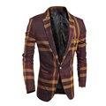 2016 Весной и Осенью Новый мужской моды классический большой плед случайный пиджак мужской бренд Slim Fit костюмы куртки