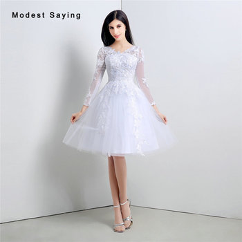 0b9f8dba97 Elegante blanco bola Masajeadores de cuello Encaje Vestidos de cóctel 2017  con mangas formal rodilla longitud