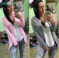TAOVK 2016 новая мода Русский стиль женщины перл бисера длинные участки вязать кардиган толстой иглой свитер