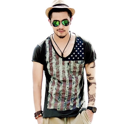 Aliexpress.com : Buy Deep V Neck T Shirt Men Star US Flag Print ...