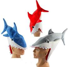 Shark Plüsch Hut Kappe Weiche Stofftier Cosplay Hut Halloween Party Cap Rot/Blau/Grau(China)