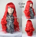 high quality Sexy Beautiful Heat Resistant Wavy Long Cosplay Ladies Wigs Fire Red wigs 12R#