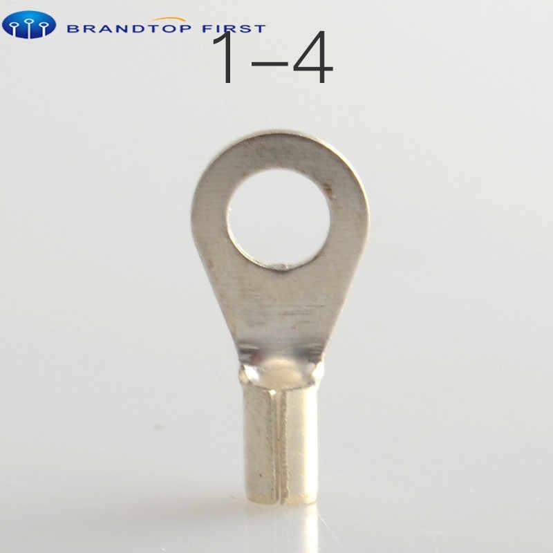 OT1-3 de OT1-4, Terminal Circular no aislado de latón y cobre, Conector de prensado en frío para Cable de alambre, Circular Nake