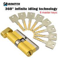 Super C-class Security Door Idling Lock Core Single Open Big 70/75/80 /105/110mm Explosion-proof Force Hit Door Lock Cylinder