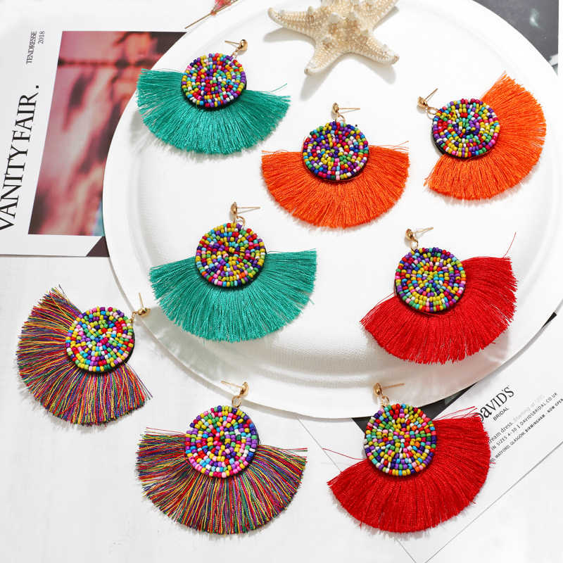 2019 Wanita Anting-Anting Drop Tassle Anting-Anting Liontin Fashion Bohemia Manik-manik Anting-Anting Perhiasan untuk Pesta