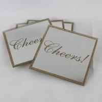 4Pcs Glass Mirror Tea Coaster Square Coffee & Tea Cup Table Coaster Glitter Diamond Mat Pads