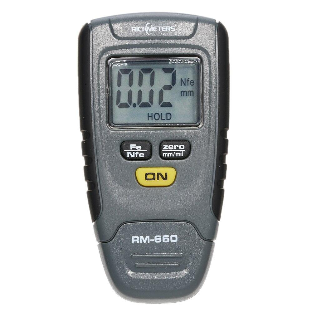 RM660 Handheld Digital Vernice di Spessore di Rivestimento del Calibro del Tester per Auto Strumento di Ferro Base In Alluminio del Metallo LCD