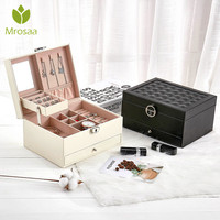 Mrosaa Leather Jewelry Box Portable Storage Organizer with lock Women Earings Ring Necklace Bracelet Display Travel Package Case