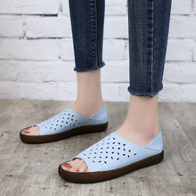 Luxury Fashion Women Sandals 2019 Summer New Flat Shoes Woman Casual Slip-on Breathable Shallow Fish Mouth Hollow Large Size цены онлайн