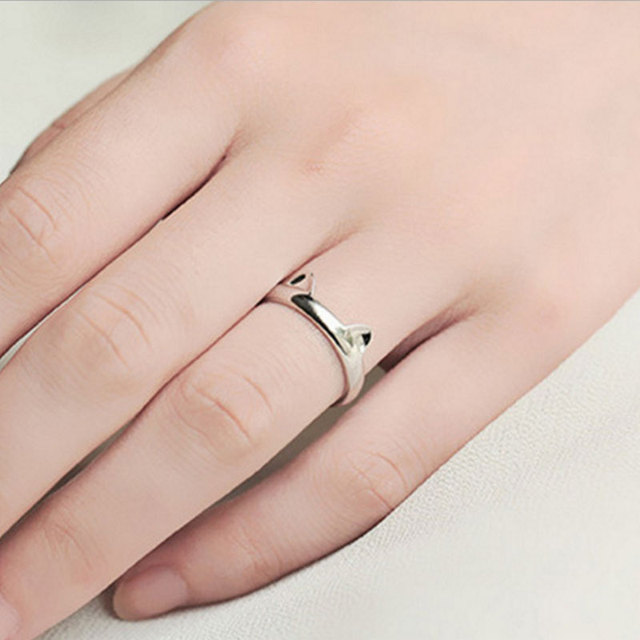 Fashion Silver Cat Paw Ring for Women