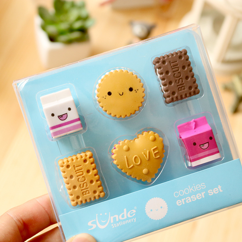 6 Pcs/Set Love Biscuit Milk Rubber Erasers Food Eraser Kids Square Round Rectangular Pencil Eraser Office Correction Gift