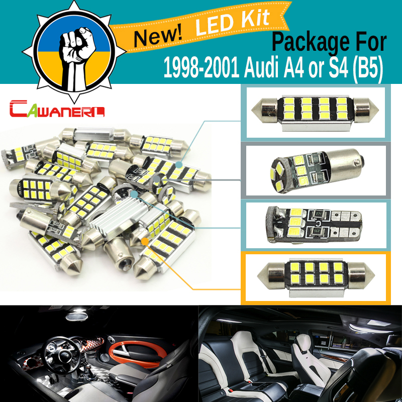 Cawanerl Car 2835 Chip Canbus LED Package Kit White Interior Dome Map Door License Plate Light For <font><b>Audi</b></font> <font><b>A4</b></font> S4 (<font><b>B5</b></font>) 1998-2001 image