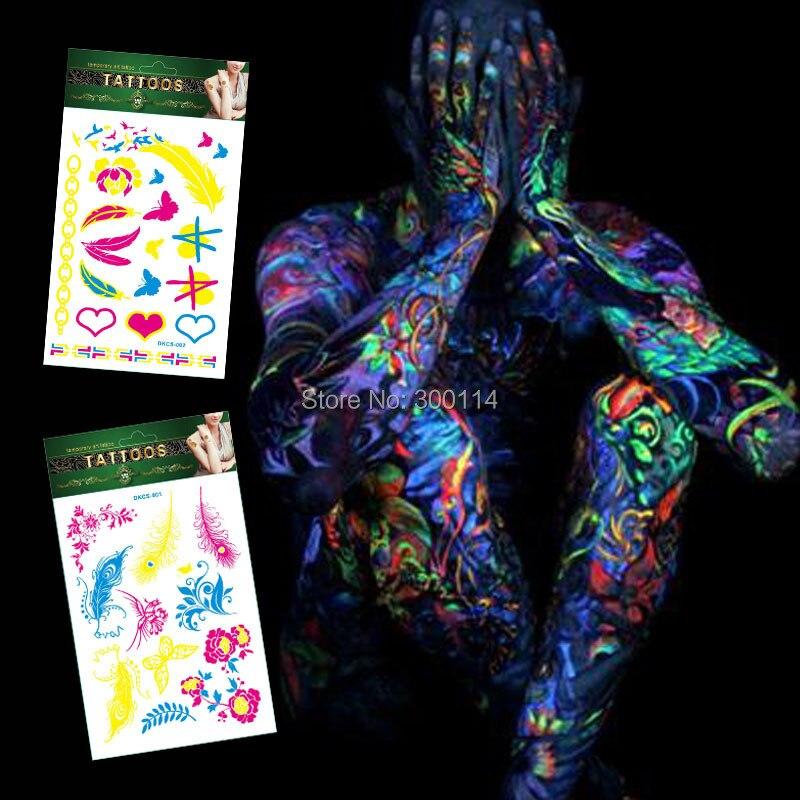 fluorescente luz Férias Tatuagem Temporária Harajuku Boate Fluorescência Tatuajes Corpo