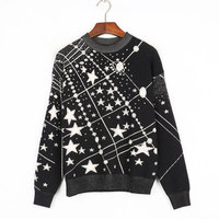 New Runway Women's Sweaters 2018 Autumn Jacquard Starry Sky Female Elegant Pullover Office Lady Jumper Outerwear Tops High End
