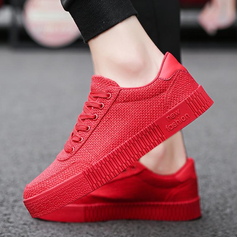 f7cf9003 2018 nuevo Social hombre joven pequeños zapatos rojos moda transpirable  hombres zapatos de tela de lino todo trabajo negro rojo coreano ocio 4 en  Calzado ...