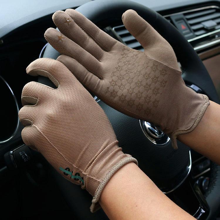 Men's Spring Summer Thin Elastic Short Gloves Male Summer Sunscreen Full Palm Touchscreen Driving Glove R1241