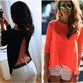 Mulheres Blusa Sem Encosto Verão Sexy Longo-sleeved Voltar Dividir Camisas O Pescoço Perspectiva Solto Casual Shirt Mulheres Tops Sólidos blusa