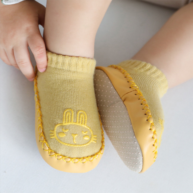 Infant Toddler Non-slip Cotton Shoes Socks With Rubber Soles Breathable Baby Socks Insole Length 12 Cm Around
