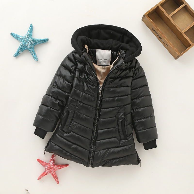 Children Warm Quilted Jackets Girl Winter Coat Spring Kids Wadded Clothes Waxed Cotton Jacket Hooded Boy's Leather Coats Black бра arte lamp teatro a3964ap 1rd
