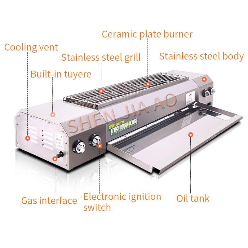 Gril de gaz liquéfié de gaz naturel de gaz sans fumée d'acier inoxydable de KE-104A - 3