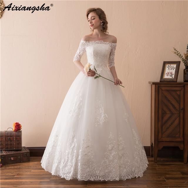 Putih Renda Pernikahan Gaun Perahu Leher Bola Gaun Pernikahan Gaun Panjang  Gaun Elegan Vestido De Festa eceaf98763