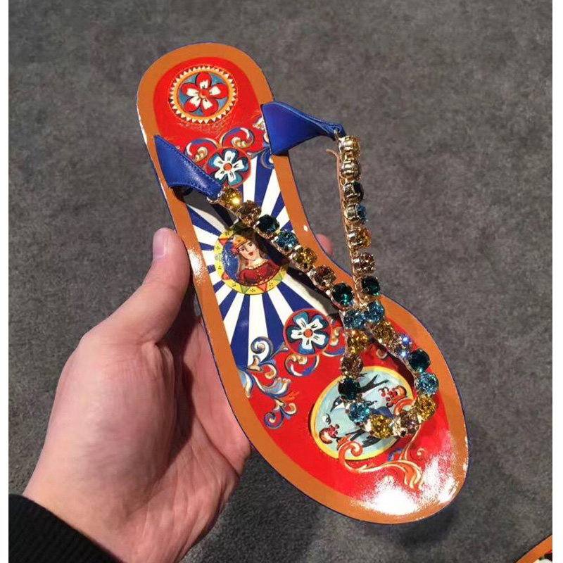 Carole Levy Beach Shoes Female Crystal Slippers Bohemian Ethnic Genuine Leather Pinch Hand-painted Print Flip Flops Flat SandalCarole Levy Beach Shoes Female Crystal Slippers Bohemian Ethnic Genuine Leather Pinch Hand-painted Print Flip Flops Flat Sandal