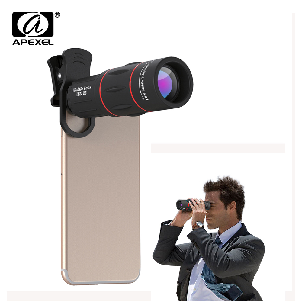 10pcs lot APEXEL phone camera lens 18X Telescope Telephoto lens 18x25 Monocular for iPhone Samsung android