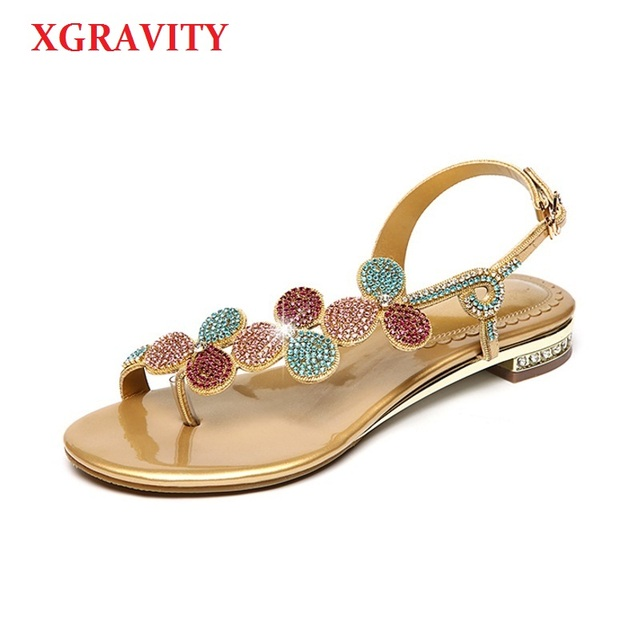 3080b7fd9 XGRAVITY Shoes New Ladies Casual Leaf Shoes Sexy Crystal Rhinestone Design Women  Sandal Hot Ladies Genuine
