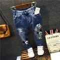 Para niños niños niñas Mickey moda de verano los pantalones vaqueros chicos jeans denim pantalones largos pantalones casuales para las niñas niños chicos pantalones vaqueros