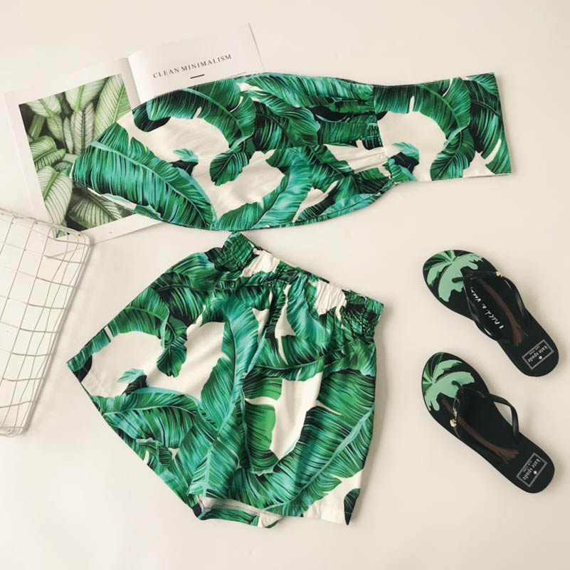 NiceMix Women Suit Sets Green Leaf Print Sleeveless Sexy Bowknot Tube Crop Tops Elastic Shorts Holiday Casual 2 Piece Suit Set in Women 39 s Sets from Women 39 s Clothing