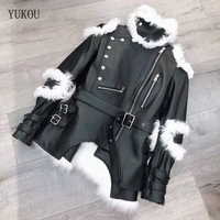 Woman Dress 2018 Autumn Winter Fashion Leather Sheepskin Coat Female Two Piece Set Fox Fur Vest Knight Style Coat