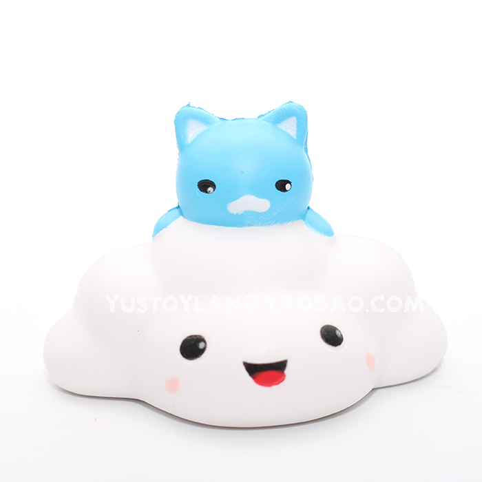 White Squishy Face Cat : Slow Rising Kawaii Blue Cat on White Cloud Squishy Cute and Squishy
