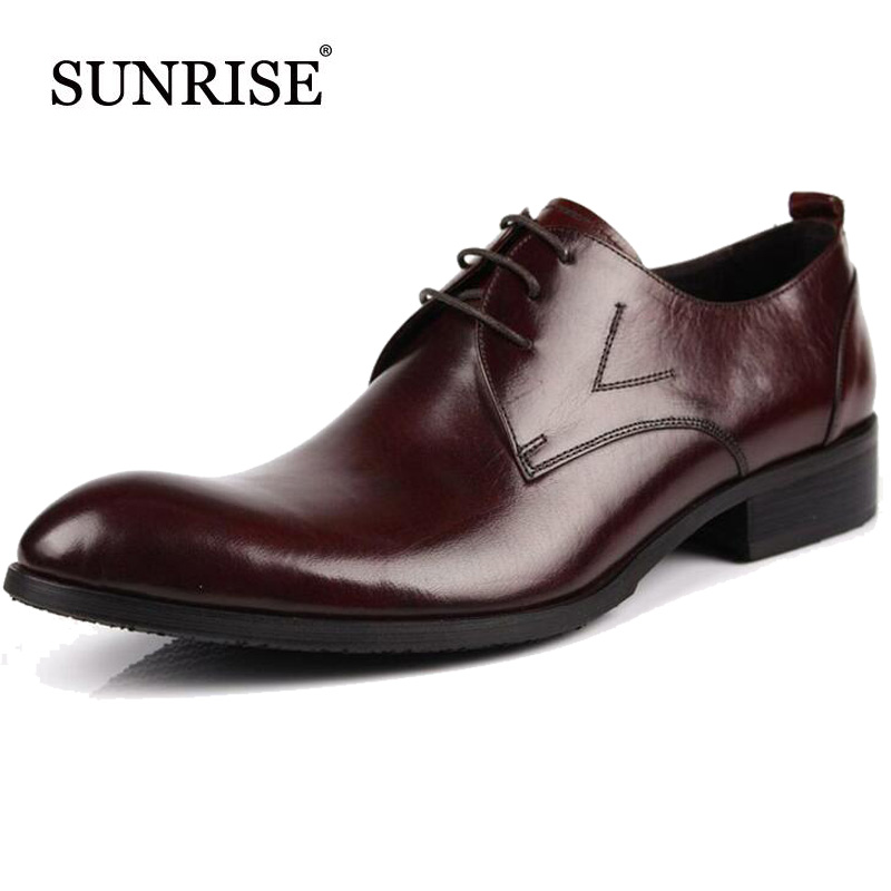 Brand Genuine Leather Men Dress Shoes Solid Pointed Toe Business Oxfords Mens Flats Spring&Autumn Casual Leather Flat Sapatos top quality crocodile grain black oxfords mens dress shoes genuine leather business shoes mens formal wedding shoes