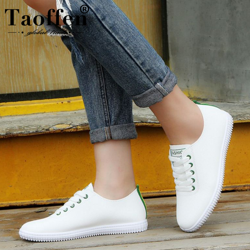 TAOFFEN Women Sneakers White Vulcanized Shoes Lace Up Round Toe Casual Women Shoes Fashion Women Shoes Footwear Size 35-40(China)
